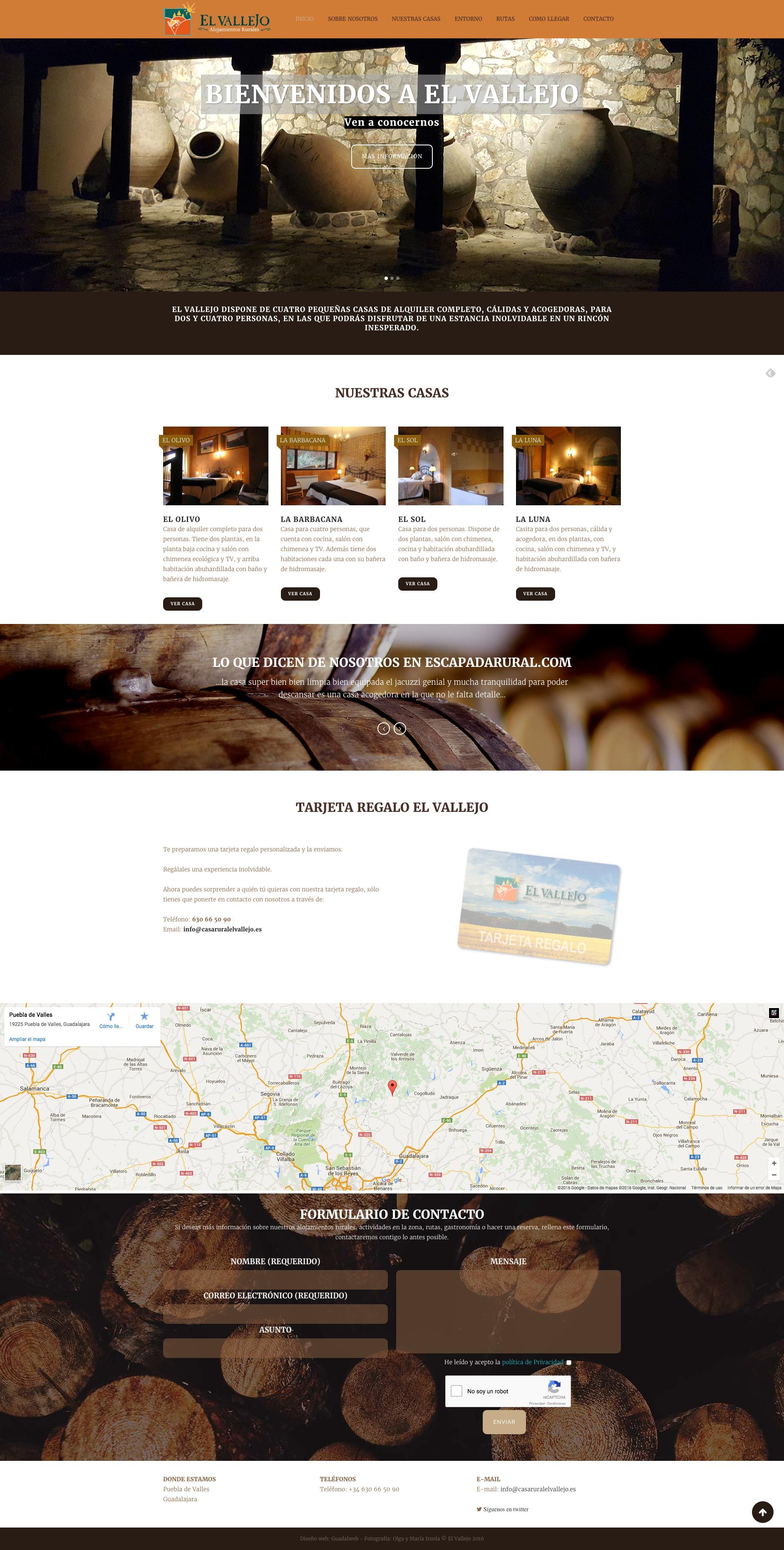 Página web completa alojamiento rural El Vallejo