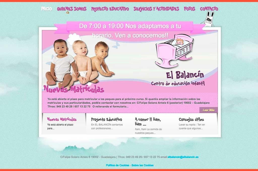 Web centro de educación infantil El Balancín