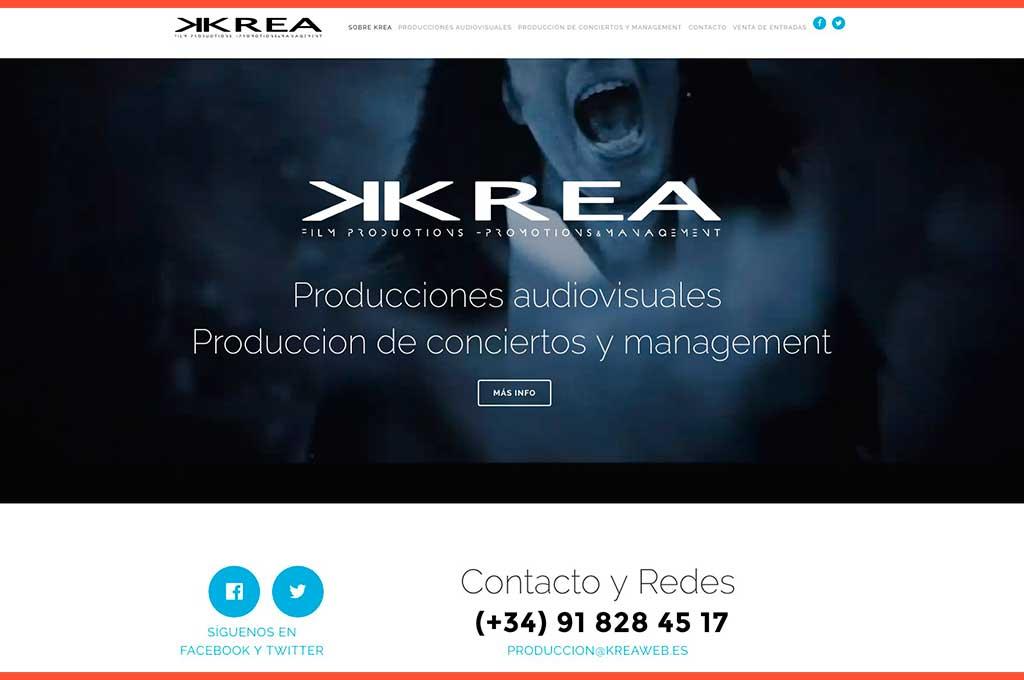 Web Krea producciones audiovisuales y conciertos