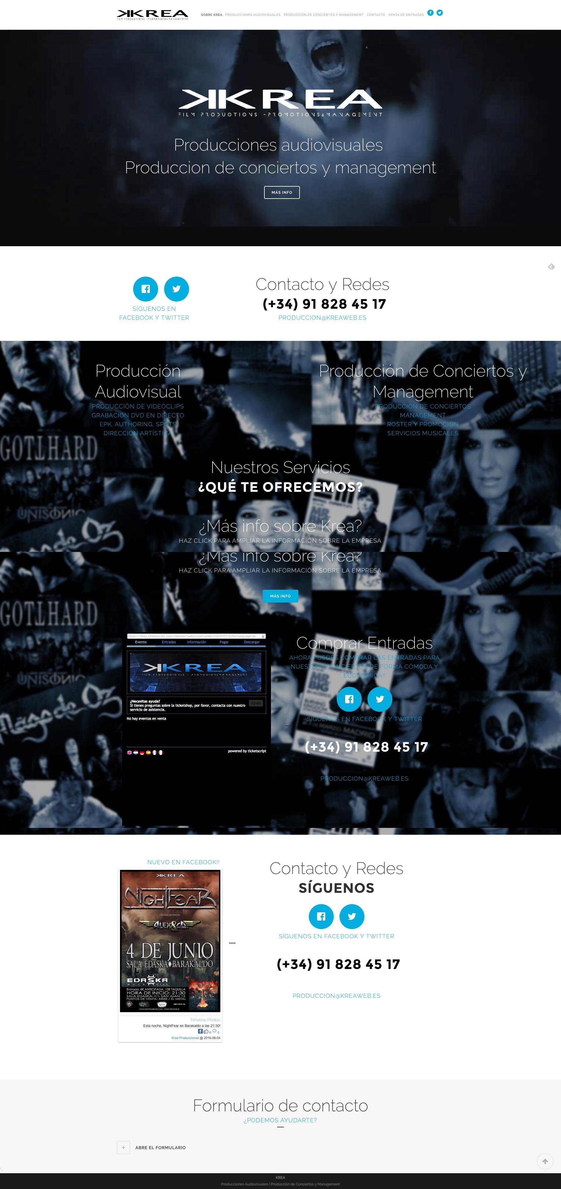Krea producciones página web de contacto