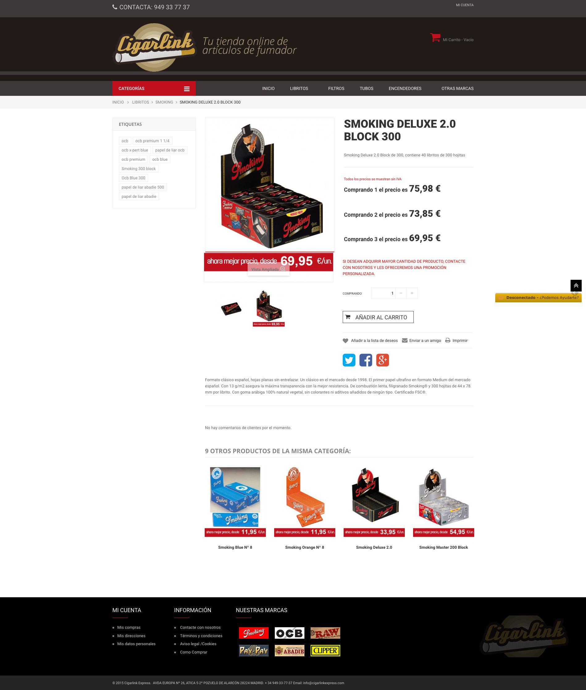 Detalle producto tienda online Cigarlink Express