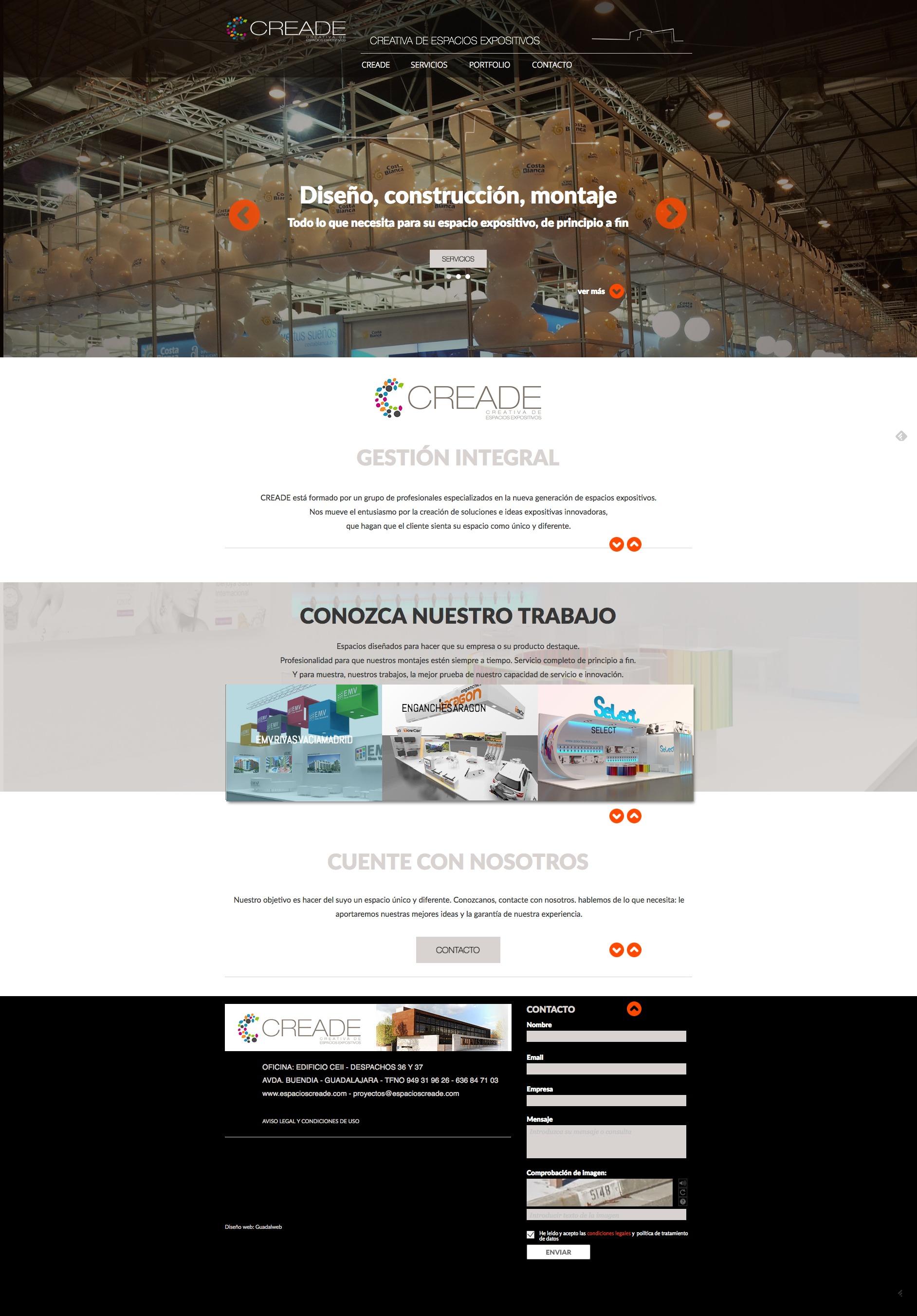 Detalle web completa Creade espacios expositivos