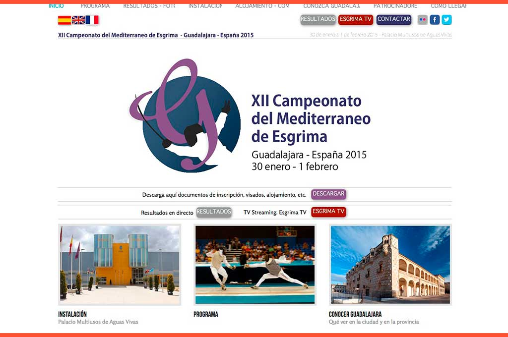 Web campeonato del Mediterráneo de esgrima 2015