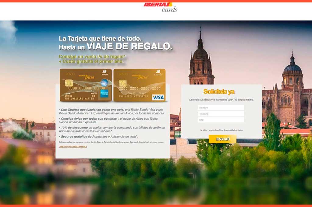Landing page Iberia cards viaje de regalo