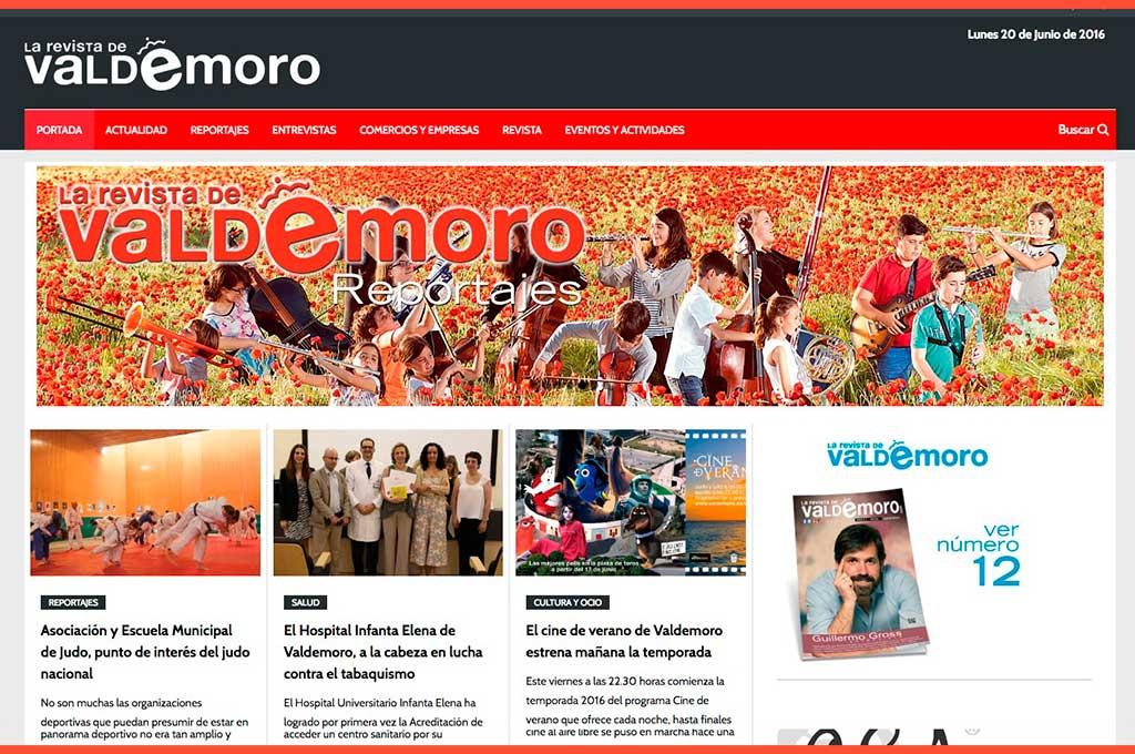 La Revista de Valdemoro captura de inicio de página web