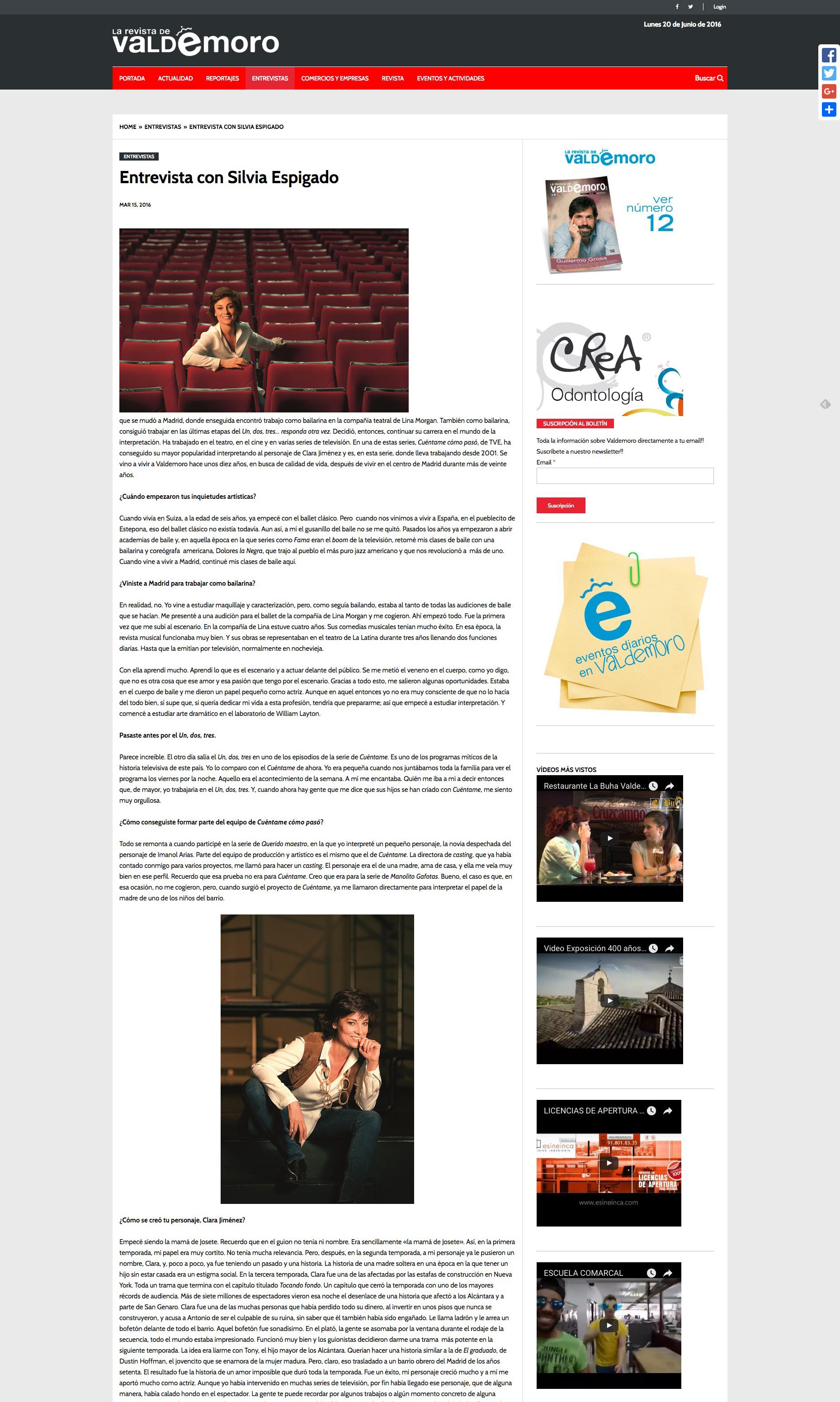 La Revista de Valdemoro, entrevista con Silvia Espigado