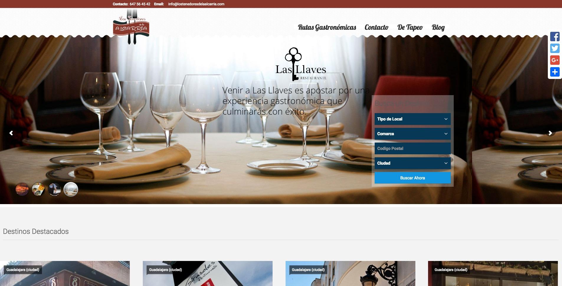 Web Los Tenedores de la Alcarria, cliente Las Llaves Marchamalo