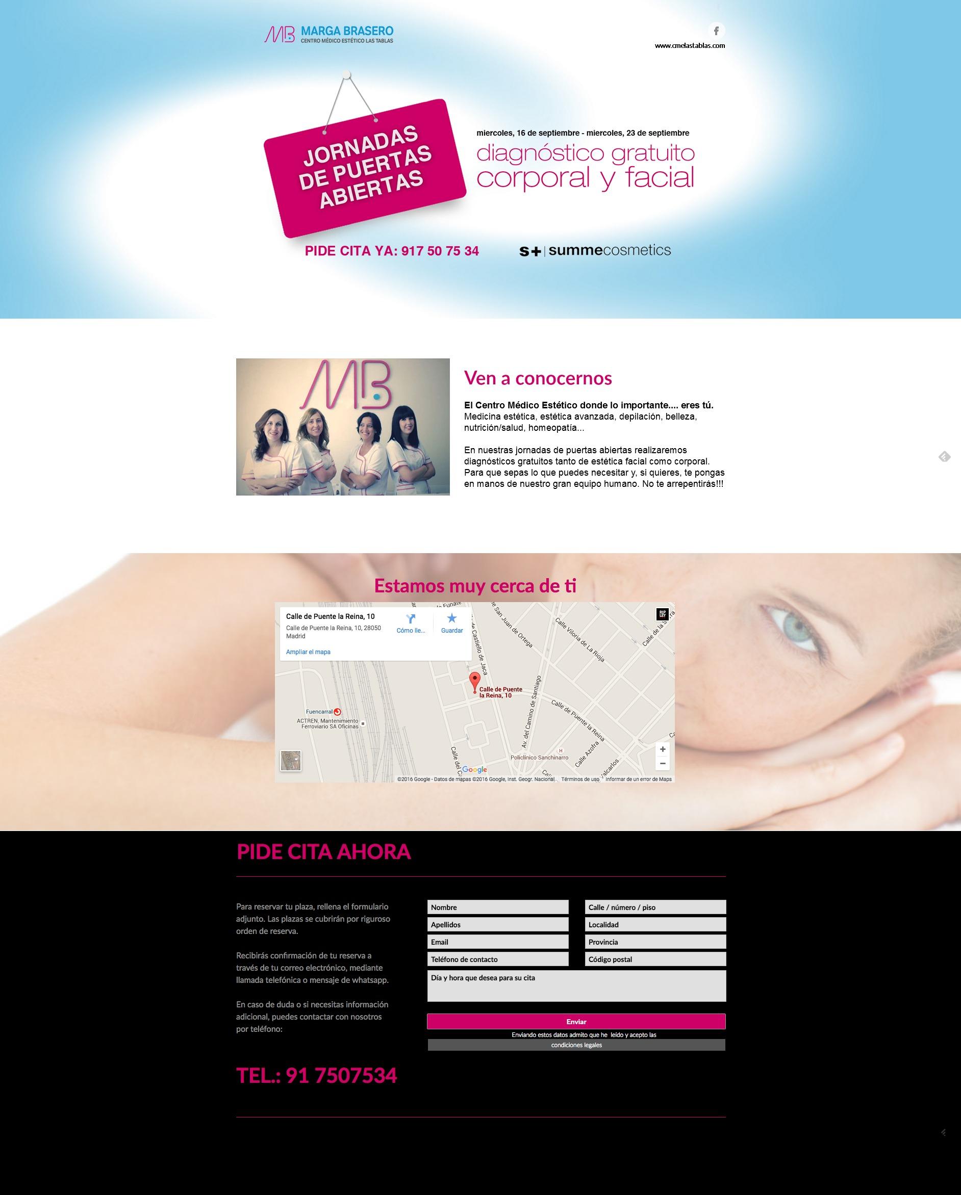 Landing page promoción puertas abiertas Marga Brasero centro médico estético
