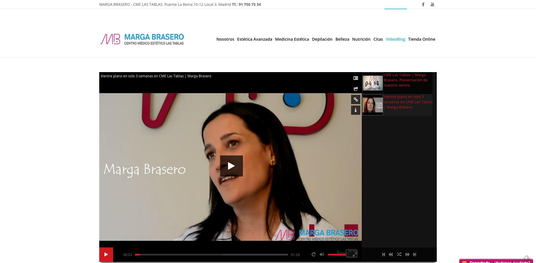 Vídeo promocional Marga Brasero centro médico estético