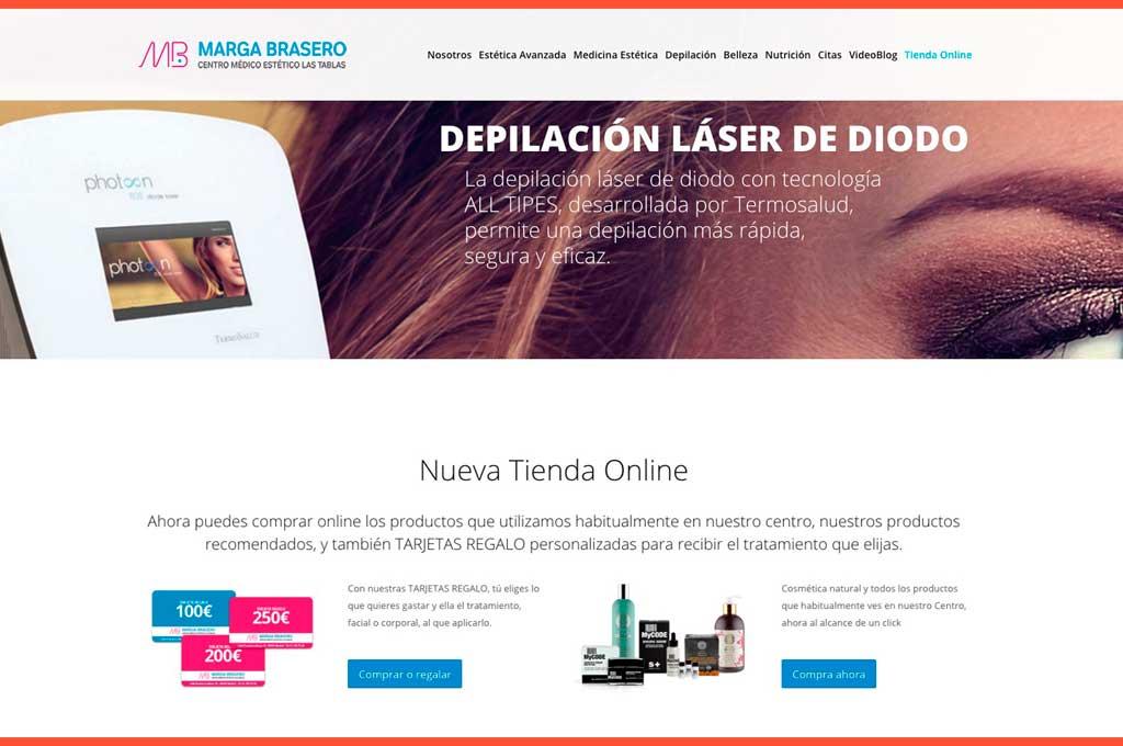 Captura de pantalla web Marga Brasero centro médico estético