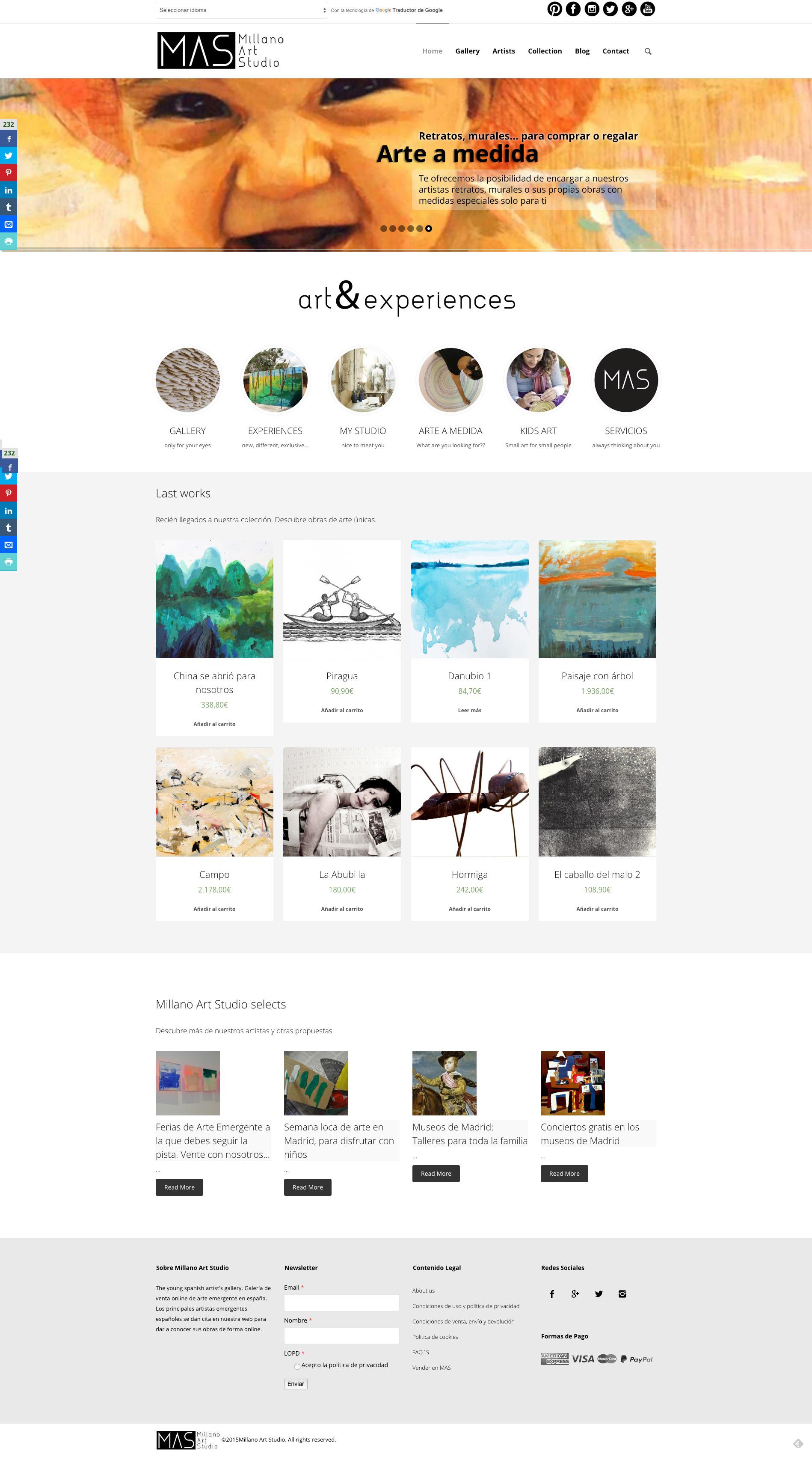 Página de inicio de Millano Art Studio