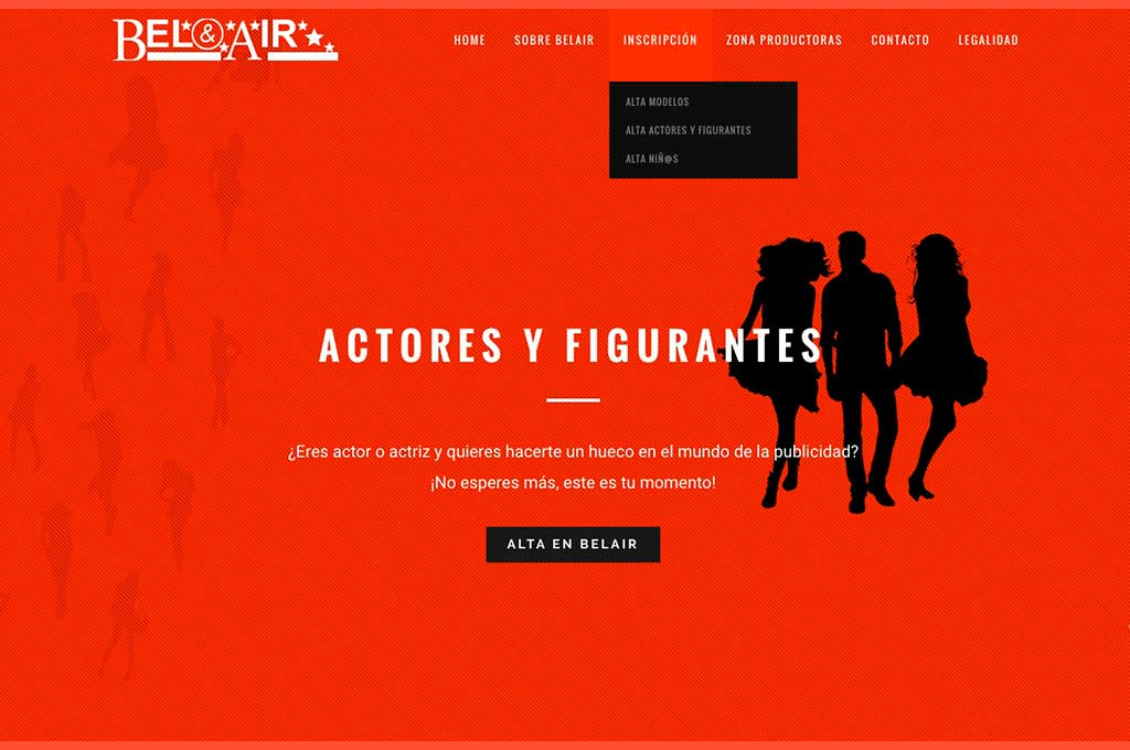 Captura de pantalla web de Modelos Belair