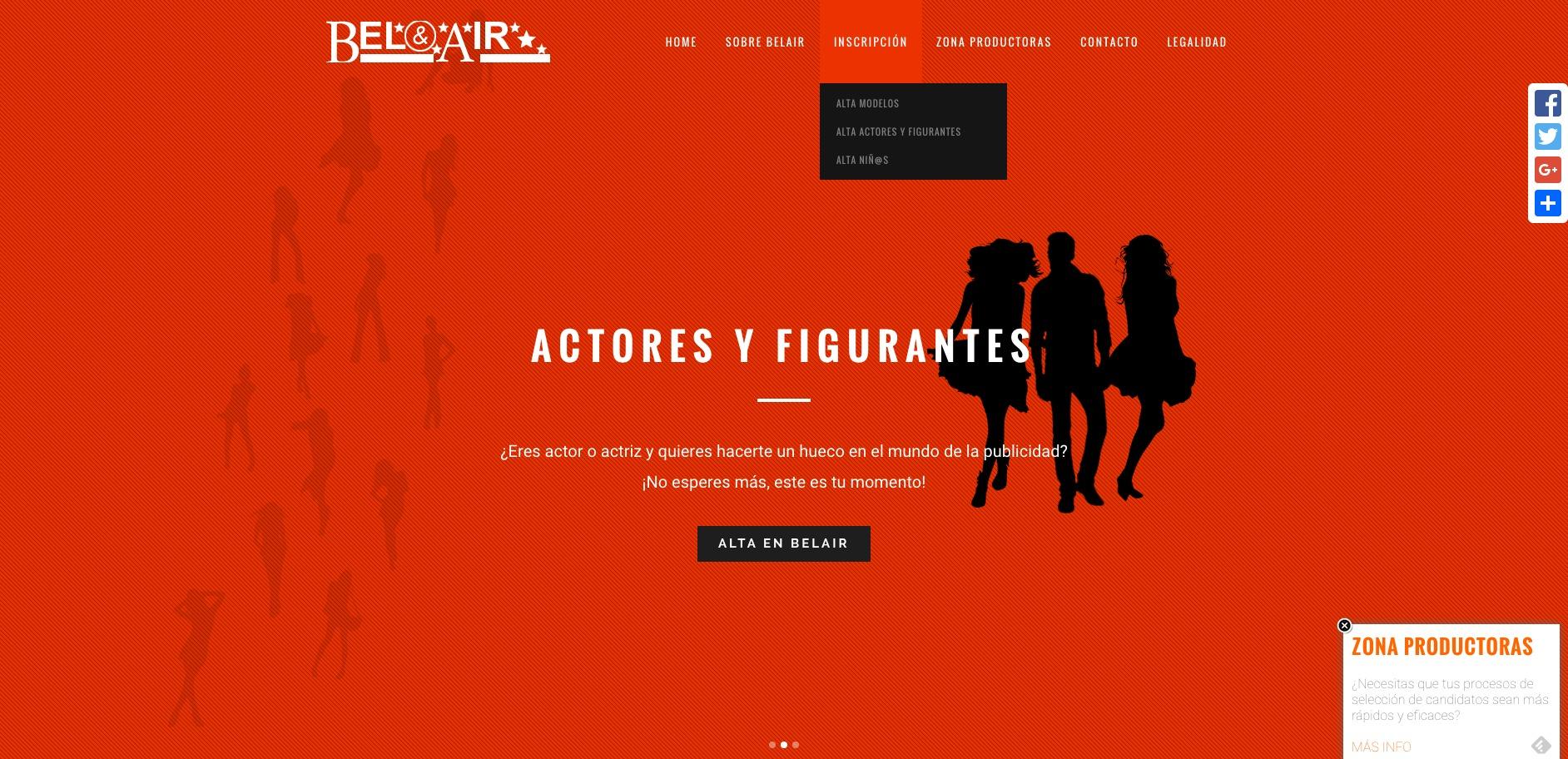 Captura de pantalla sección actores y figurantes modelos Belair