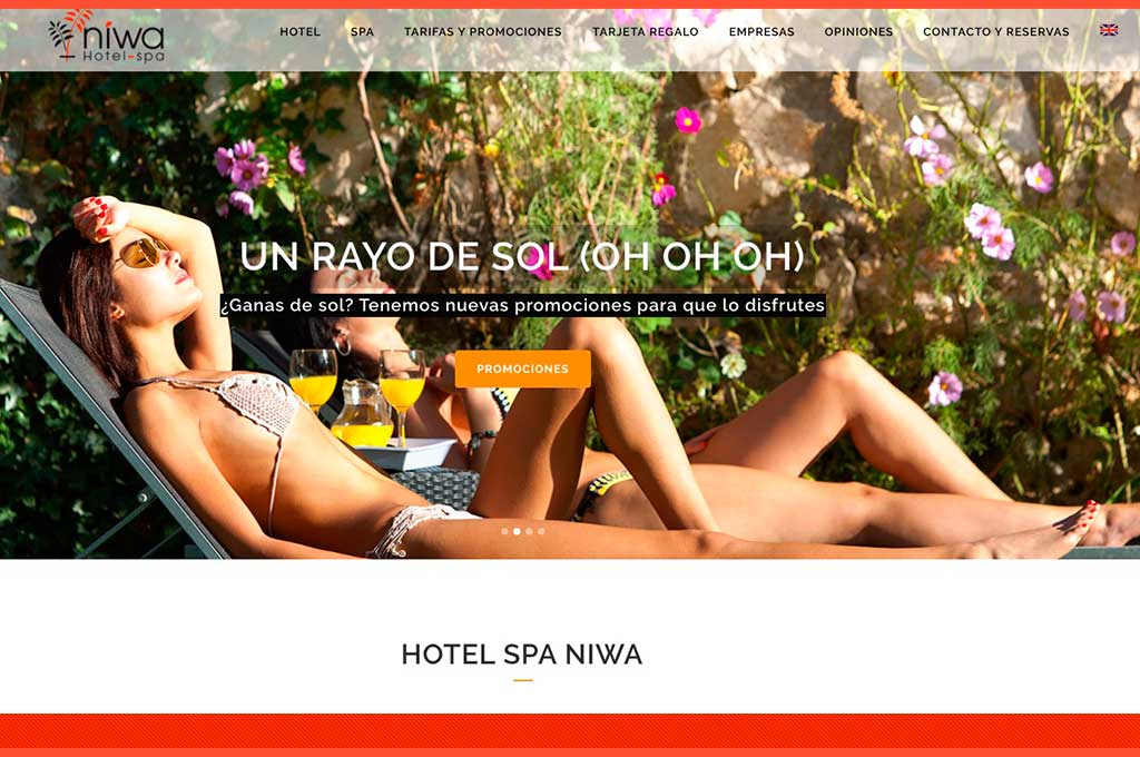 Captura de pantalla de imagen de inicio en web de Niwa Hotel and Spa