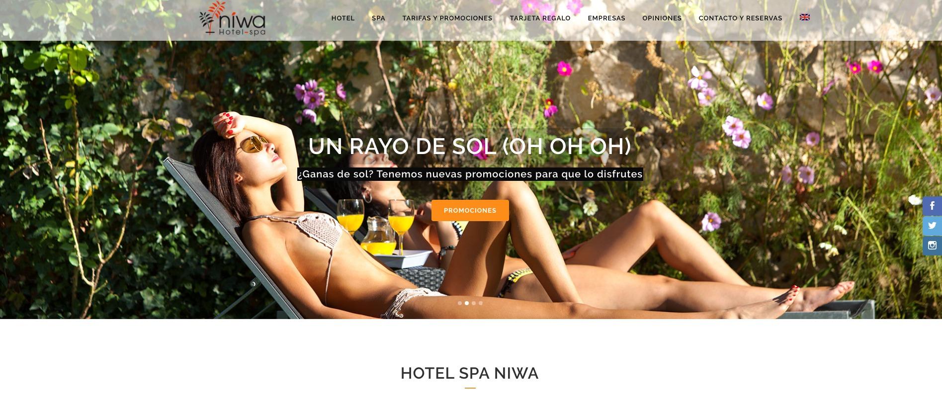 Detalle de imagen frontal de web Hotel Spa Niwa con promociones de verano