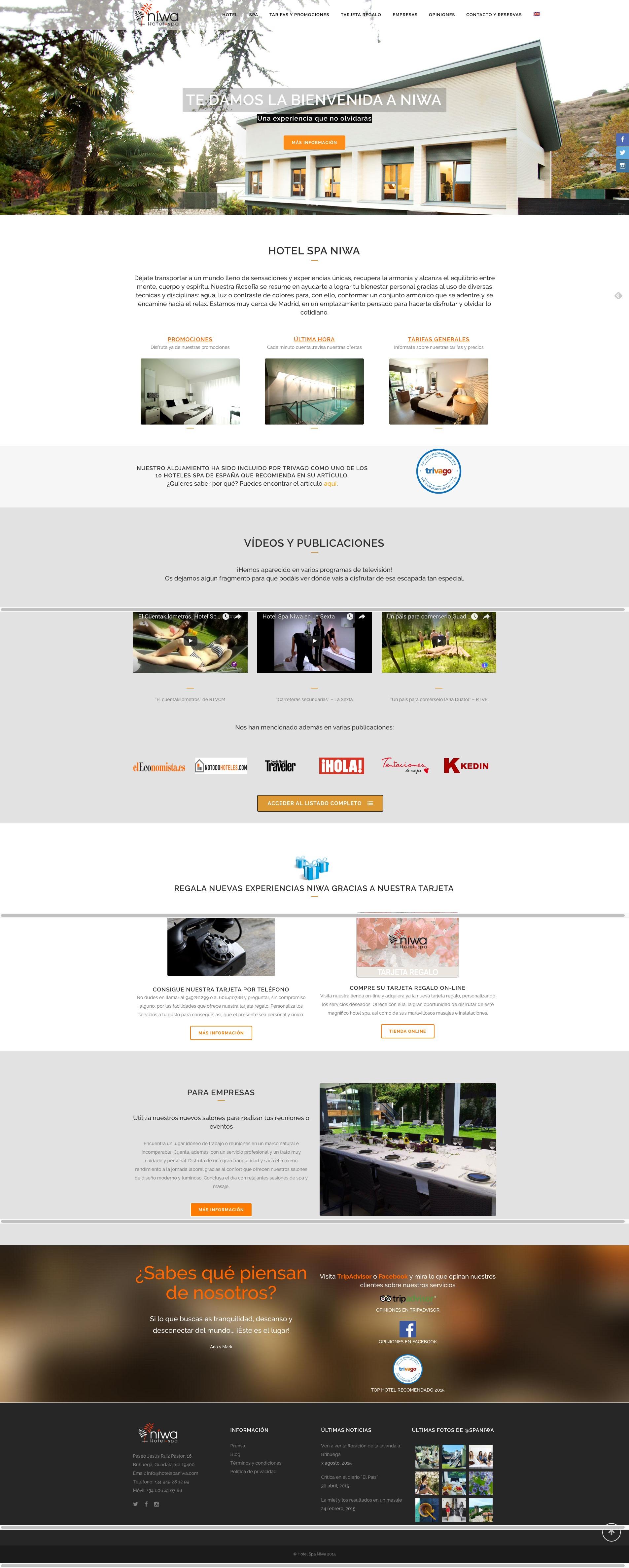 Captura de pantalla de la web completa de Hotel Spa Niwa