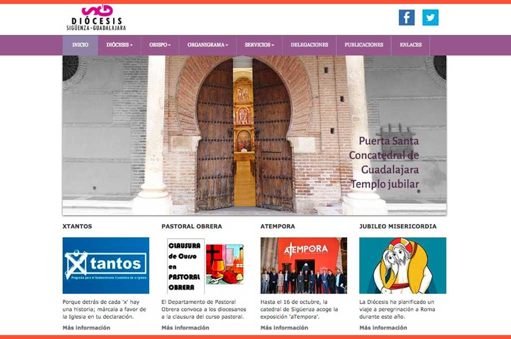 Página de inicio de la web del Obispado de Sigüenza Guadalajara