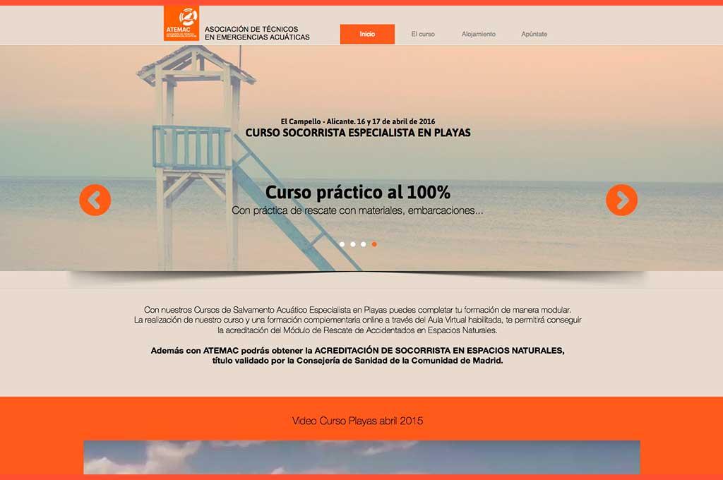 Web promoción curso socorrista especialista en playas Atemac socorrismo y salvamento