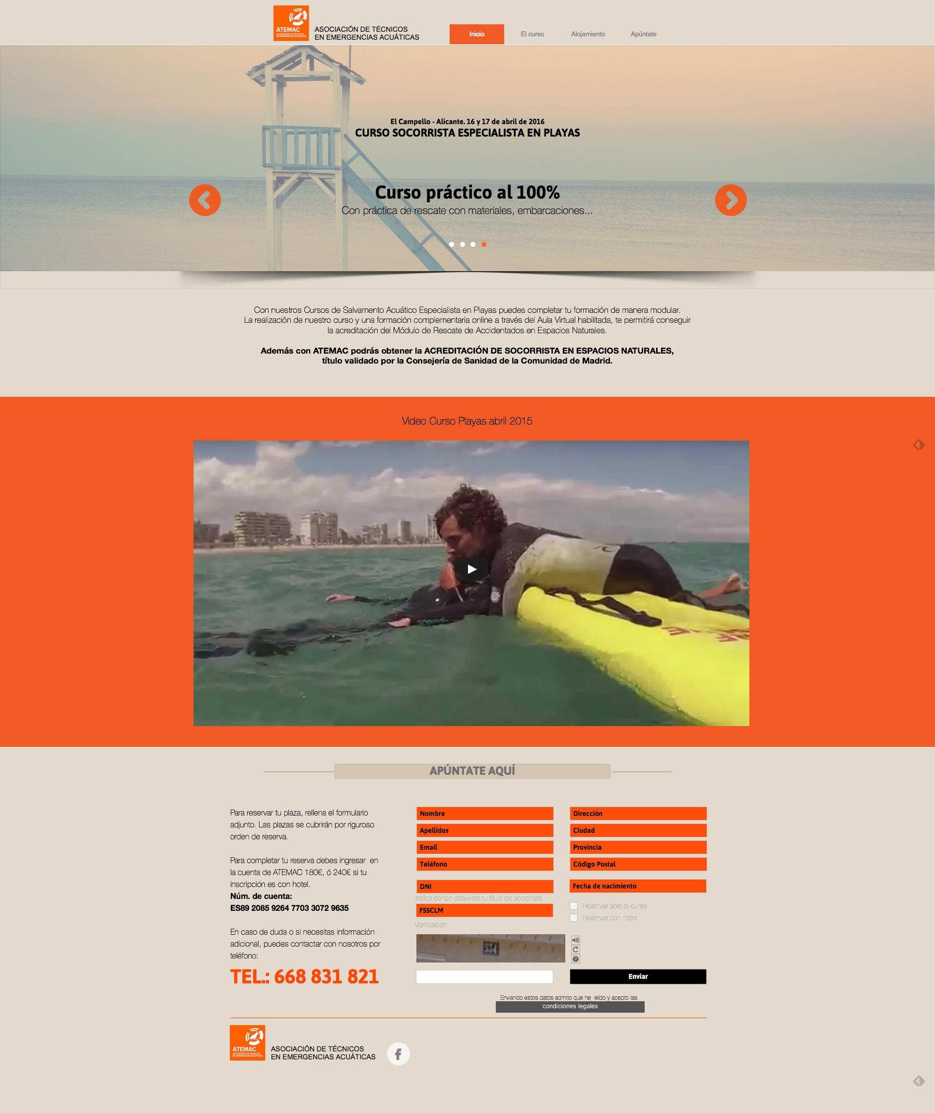 Captura de pantalla completa de Atemac curso especialista en playas