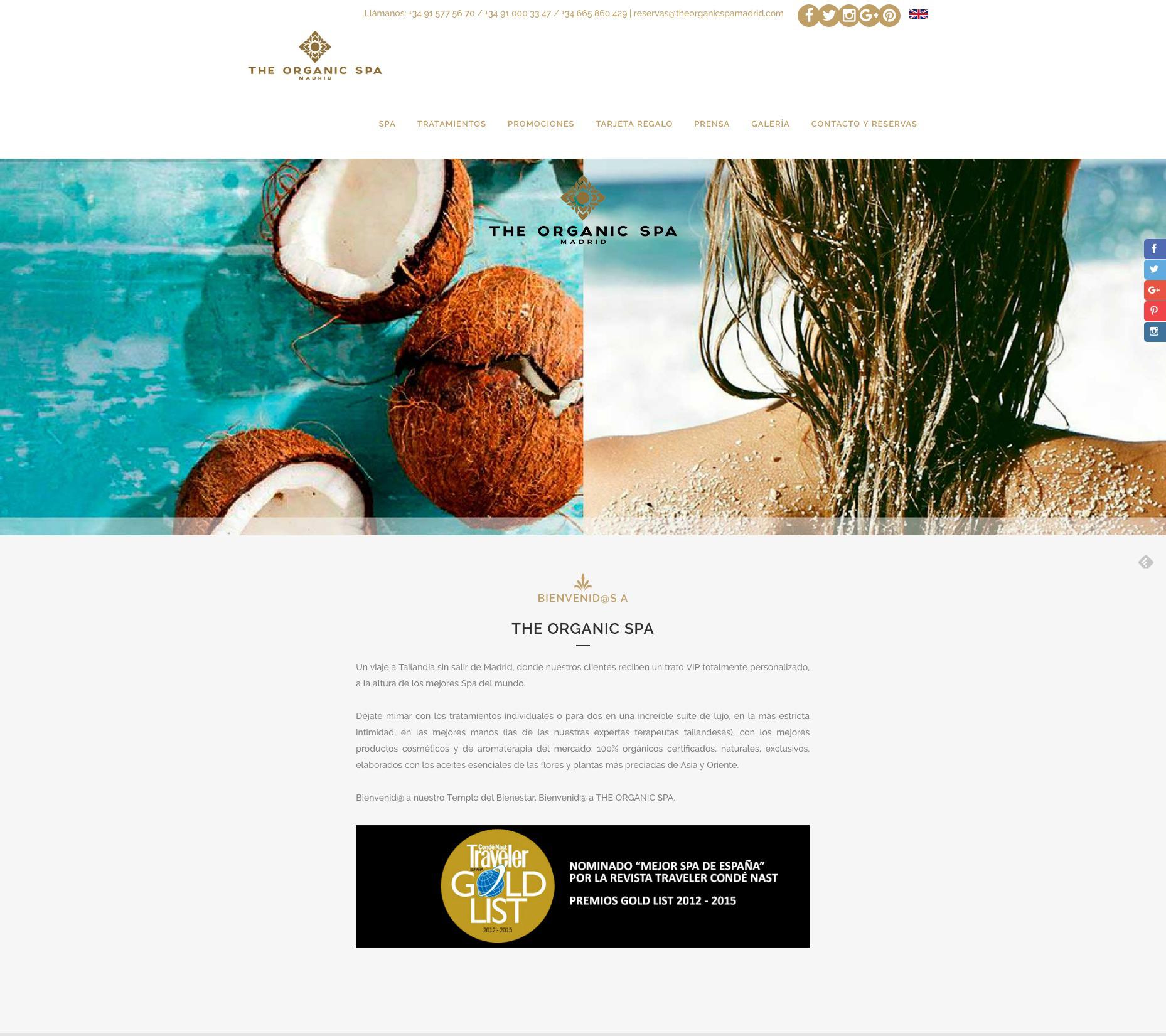 Web The Organic Spa bienvenida