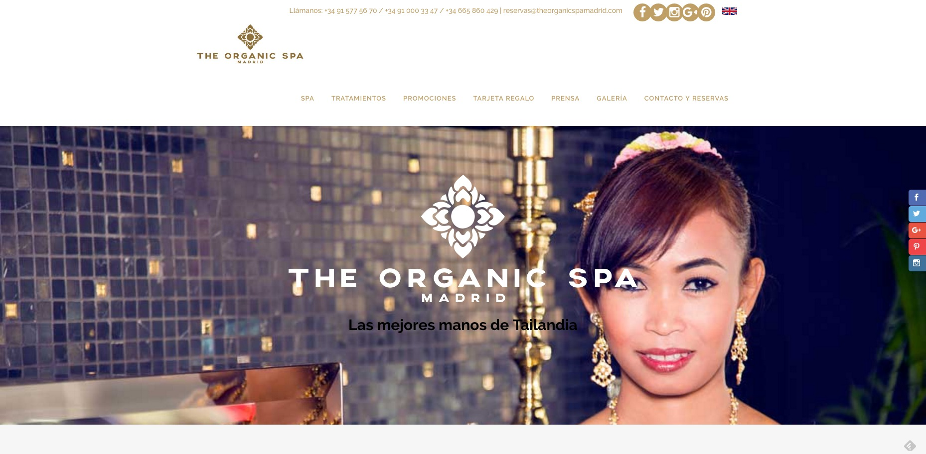 Portada web The Organic Spa