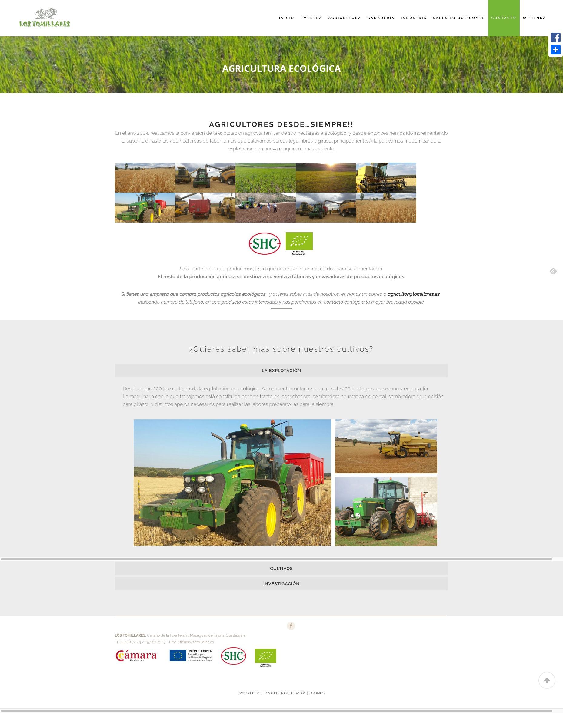 Captura de pantalla de web completa Los Tomillares