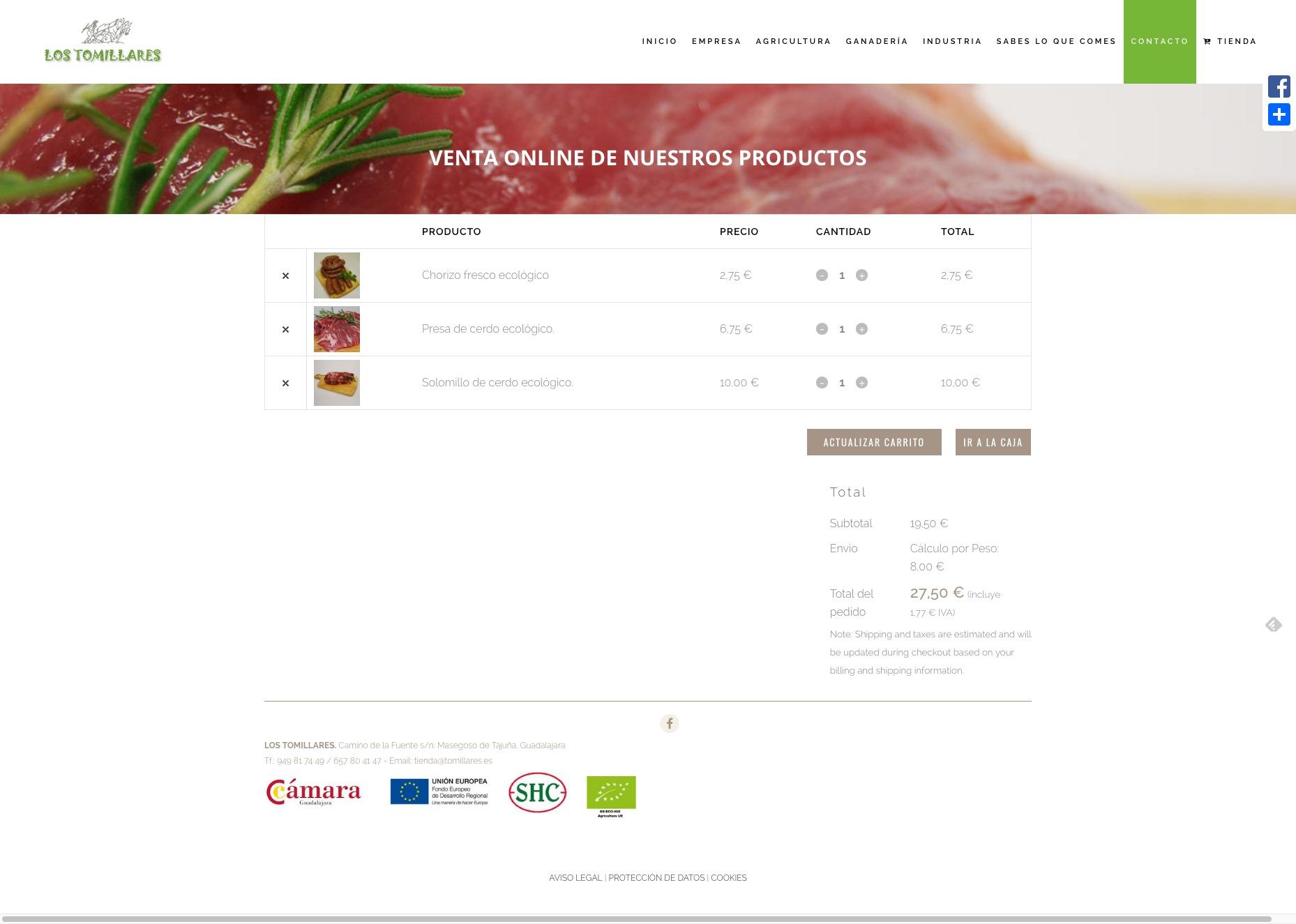 Captura de pantalla de tienda online Los Tomillares