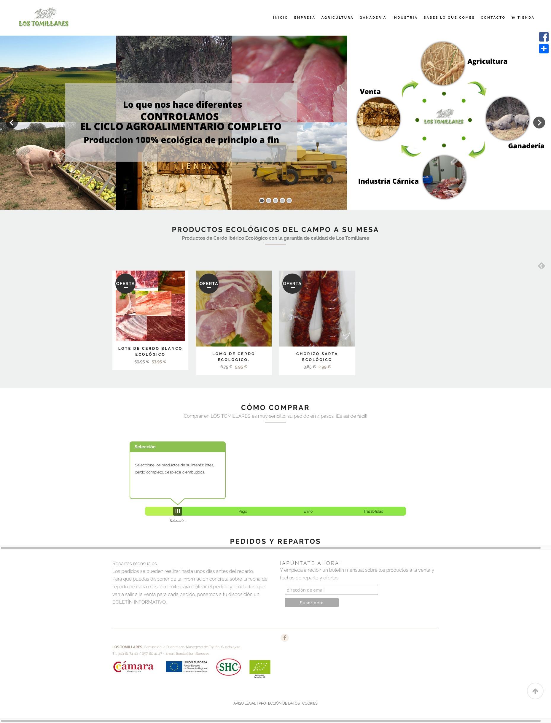 Captura de pantalla de web Los Tomillares