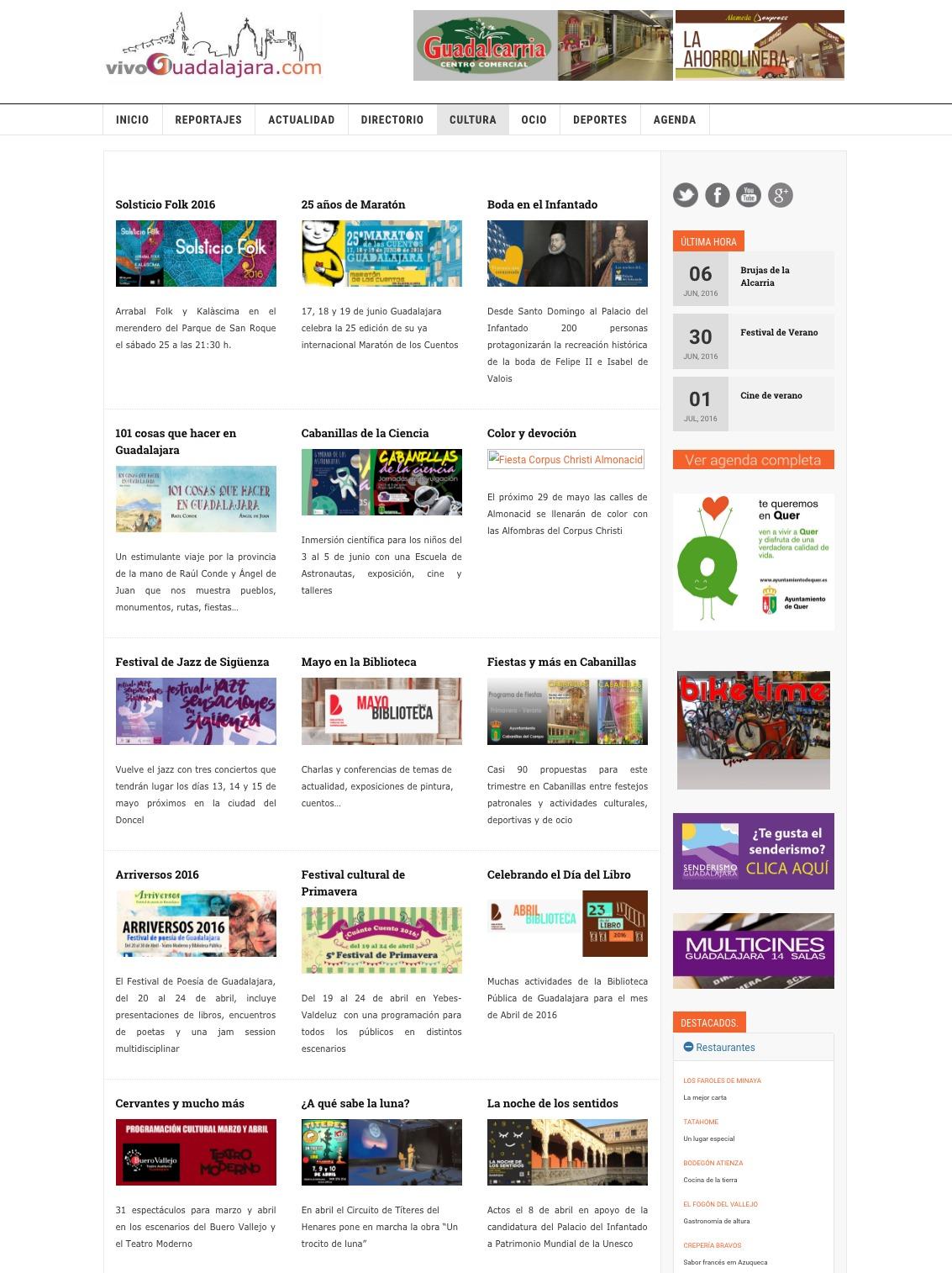 Vista previa de la página de noticias y eventos Vivoguadalajara