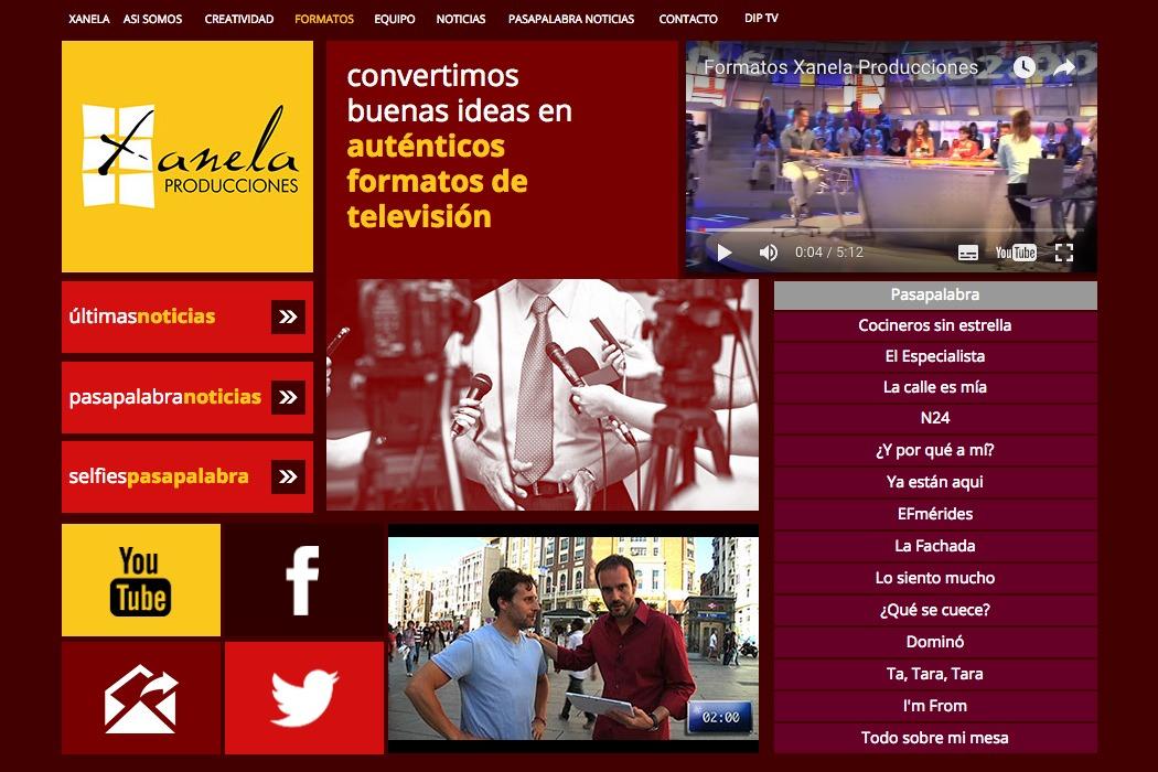Captura de pantalla de la sección de formatos de la página web de Xanela producciones