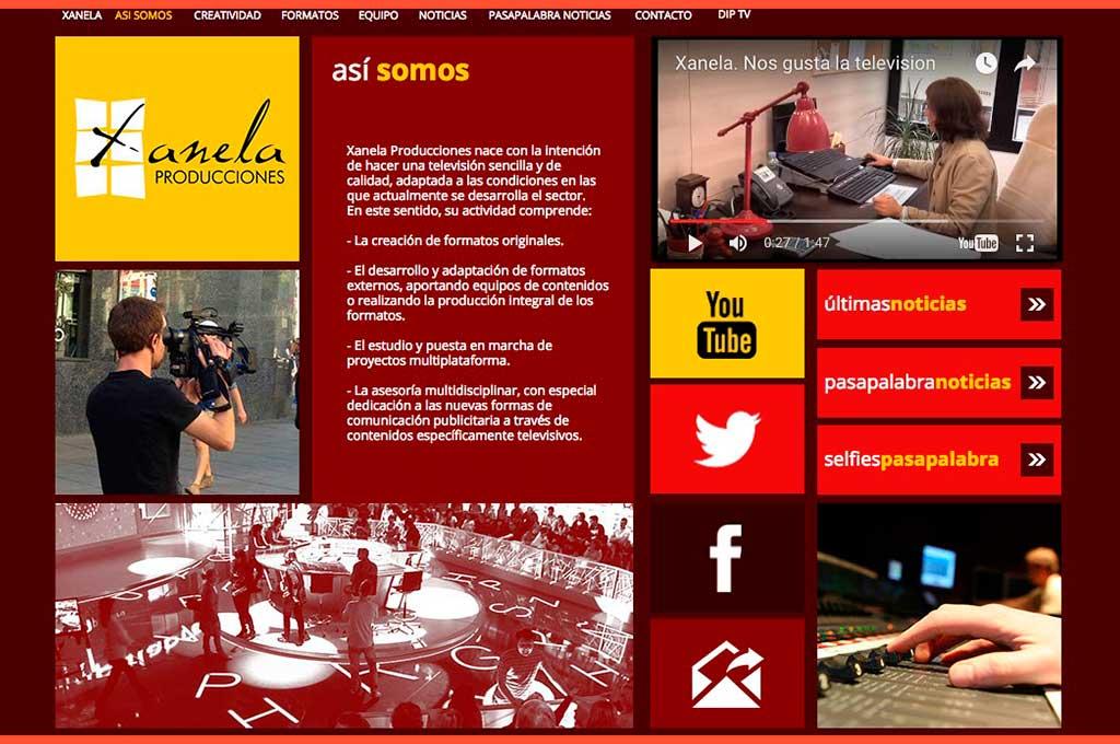 Captura de pantalla web de Xanela producciones