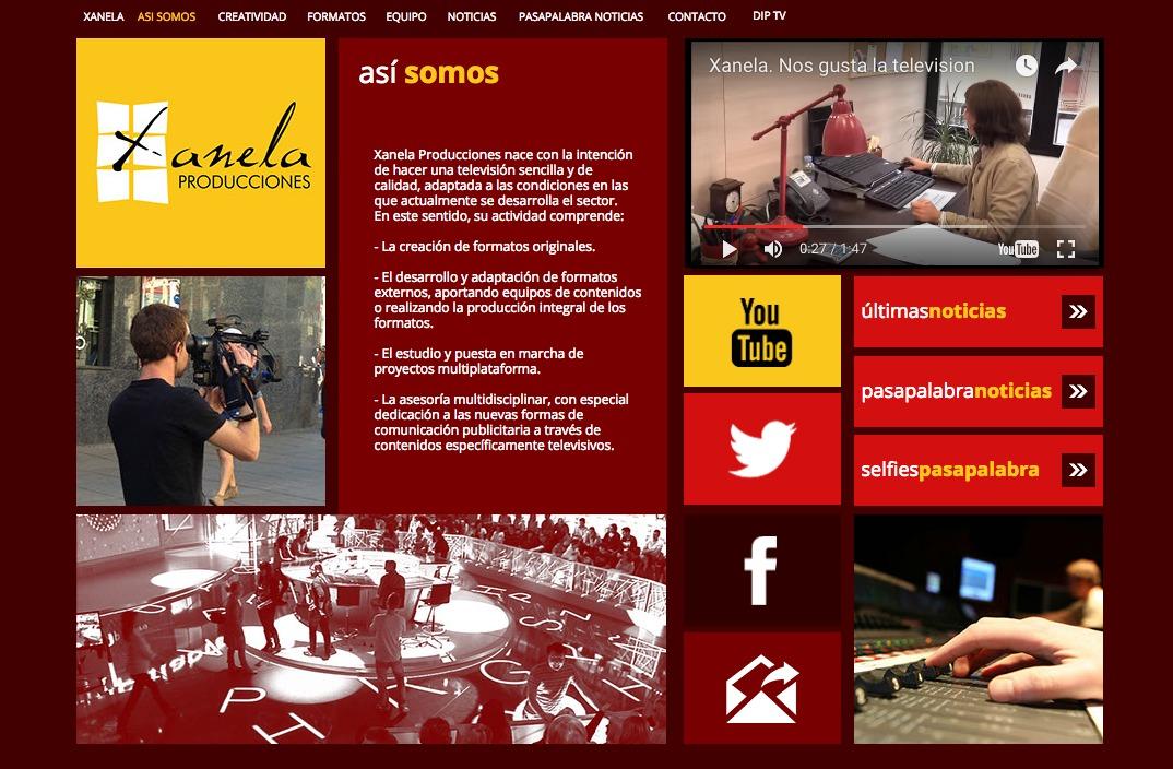 Captura de pantalla de la web de Xanela producciones